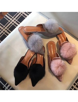 2018 Famous Design Woman Fur Flipflops Pompom Fur Balls Slides Pointed Toe Mules Low Heels Silk Riband Fur Slippers Feather Shoe by Siketu
