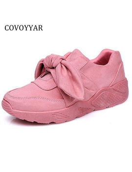 Covoyyar Sweet Big Bow Women Sneakers 2018 Spring Autumn Hot Sale Solid Casual Shoes Slip On Flat Women Trainers Wsn158 by Covoyyar