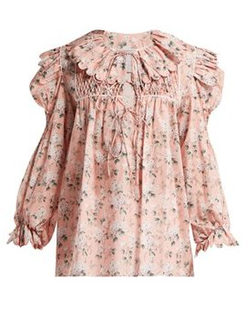 Defensia Floral Print Cotton Blouse by Horror Vacui