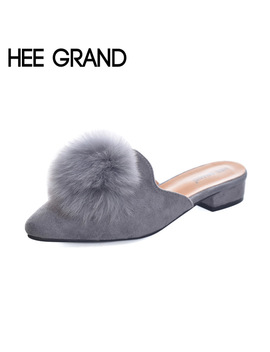 Hee Grand Woman Mules Spring And Autumn Pumps Flock Vamp Shoes With Wool Balls  Women's Shoes Xwd6097 by Hee Grand