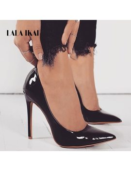 Lala Ikai Basic Woman Leather Pumps High Heels Shallow Office Lady Fashion Concise Thin Heels Sexy Women Shoes 100 C2086  35 by Lala Ikai