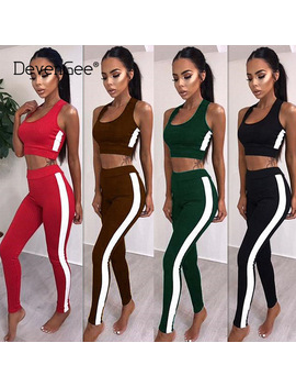 Deven Gee Summer Outfits For Women Sportswear Sexy Striped Crop Top And Pant Two Piece Track Suit Female Knitted Tracksuit Set by Deven Gee