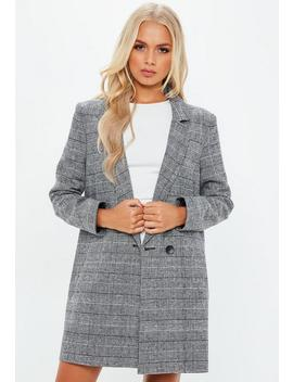 Manteau Droit Gris Imprimé Tartan by Missguided