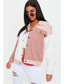 Veste En Jean Rose Oversize Colorblock by Missguided