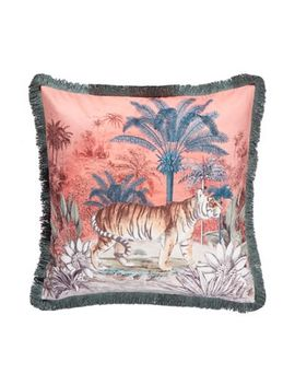 Butterfly Home By Matthew Williamson   Multicoloured Tiger Print Velvet Feather Filled Cushion by Butterfly Home By Matthew Williamson