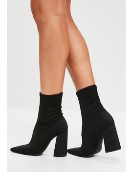 Bottines Noires Talon évasé by Missguided