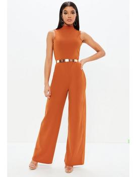 Orange High Neck Wide Leg Open Back Jumpsuit by Missguided