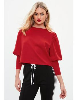 Red Puffball Round Neck Blouse by Missguided