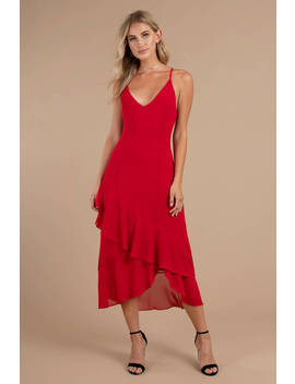 Selena Red Ruffle Midi Dress by Tobi