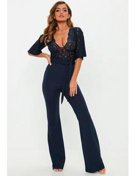 Navy Lace Plunge Kimono Sleeve Jumpsuit by Missguided