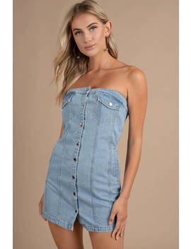 Snap To It Light Wash Strapless Denim Dress by Tobi