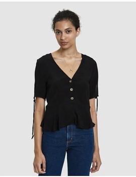 Babi Button Down Blouse In Black by Farrow