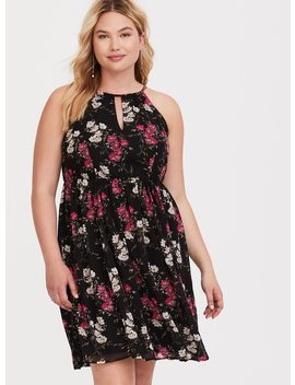 Black Floral Halter Neck Chiffon Dress by Torrid