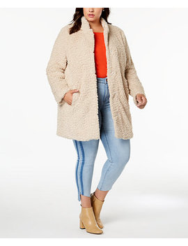 Plus Size Faux Fur Teddy Coat by Kenneth Cole