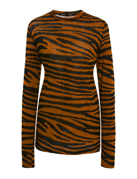 Printed Long Sleeve Jersey Tissue Top by Proenza Schouler