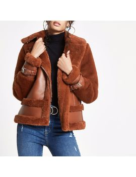 Brown Faux Fur Aviator Jacket by River Island