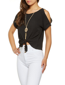 Split Sleeve Tie Front Blouse by Rainbow