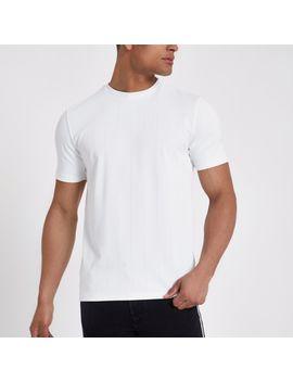 T Shirt Ajusté Blanc à Grosses Côtes by River Island