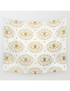 Evil Eyes Gold Wall Tapestry by
