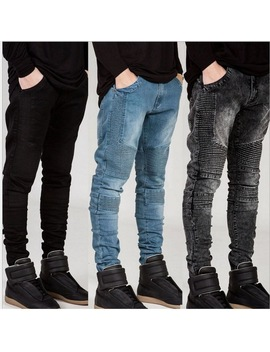 Streetwear Mens Ripped Biker Jeans Homme Men's Fashion Motorcycle Slim Fit Black White Blue Moto Denim Pants Joggers Skinny Men by Neverfunction