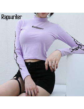 Rapwriter Fashion Barbed Wire Letter Printed Cotton Tees Women 2018 Streetwear Turtleneck Long Sleeve Skinny T Shirt Feminina by Rapwriter