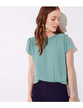 Petite Cutout Button Back Top by Loft