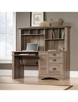 Sauder Harbor View Computer Desk With Hutch, Salt Oak by Sauder