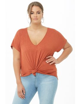 Plus Size Longline Slub Knit Tee by Forever 21
