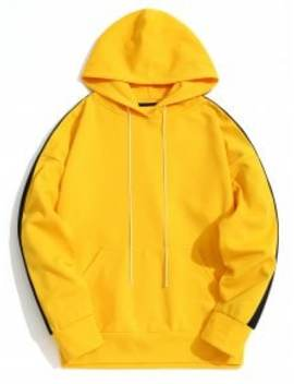Kangaroo Pocket Contrast Color Hoodie Men Clothes   Yellow L by Zaful