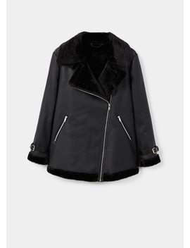 Faux Fur Lining Biker Coat by Mango