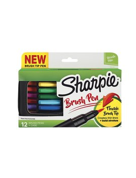 Sharpie Pen, Brush Tip, Assorted Colors, 12 Count + Soft Zip Case by Sharpie