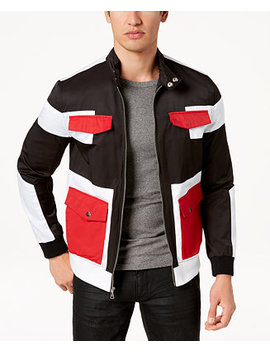 I.N.C. Men's Colorblocked Full Zip Bomber Jacket, Created For Macy's by Inc International Concepts