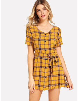 Single Breasted Self Tie Waist Plaid Dress by Shein