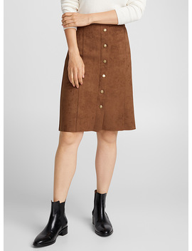 Buttoned Faux Suede Skirt by Contemporaine
