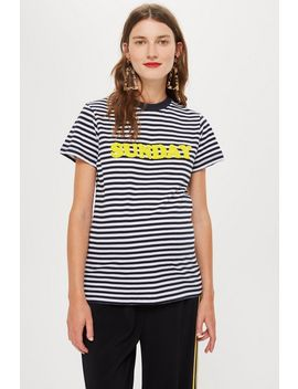 Maternity 'sunday' Motif Stripe T Shirt by Topshop