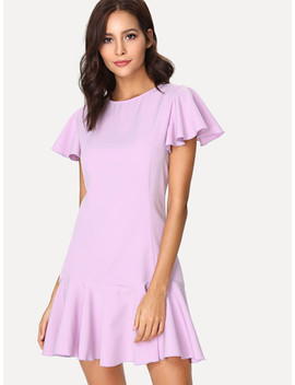 Flutter Sleeve Solid Ruffle Dress by Shein