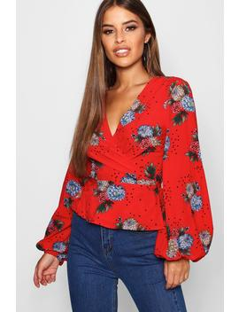 Petite Wrap Floral And Star Print Blouse by Boohoo