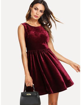 Bow Tie Open Back Velvet Dress by Shein