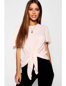 Petite Tie Front Woven Blouse by Boohoo