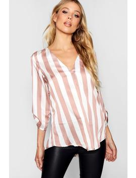 Leigh Stripe V Neck Button Cuff Detail Blouse by Boohoo