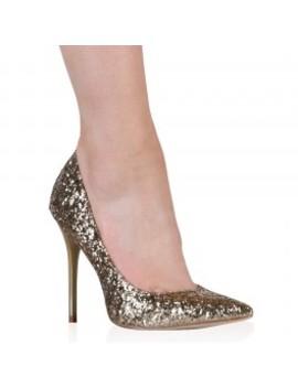 Josie Stilettos In Gold Glitter by Public Desire
