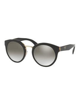 Round Acetate Mirrored Sunglasses W/ Metal Trim by Prada