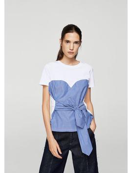 Gestreiftes T Shirt Mit Knotendetail by Mango