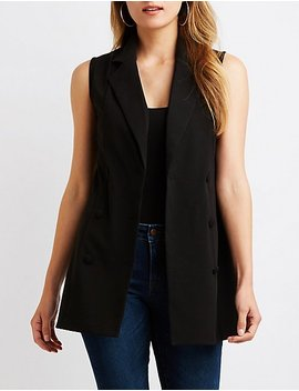 Double Breasted Longline Vest by Charlotte Russe