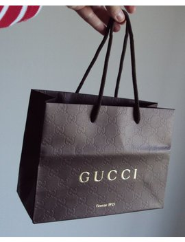"New Gucci Shopping Bag Authentic Embossed Logo 9"" X 6"" Rope Handle Paper Designer Gift by Sdurtschi"
