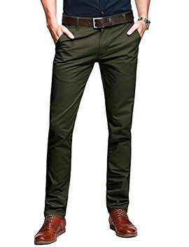 Ochenta Men's Slim Tapered Flat Front Casual Dress Pants by Ochenta