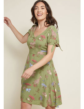 Ideal Discovery Short Sleeve Dress In Safari by Modcloth