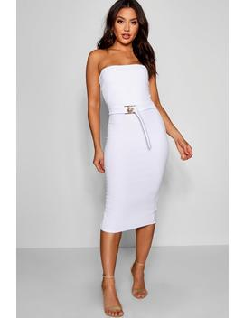 Bandeau Belted Midi Dress by Boohoo