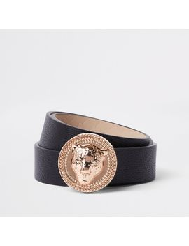 Black Lion Head Jeans Belt by River Island