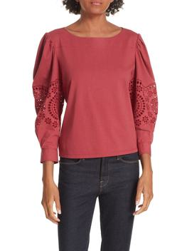 Eyelet Sleeve Cotton Top by La Vie Rebecca Taylor
